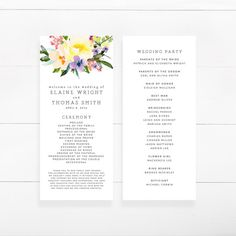 Wedding Program Template Instant Download Bohemian Floral Wedding - Easy wedding program template