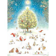 This Advent Calendar will put you in a festive holiday mood. Gentle animals share the joy of the season as they gather around a lit Christmas tree.
