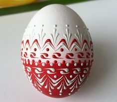 Items similar to Red and White Eggshell Art, Chicken Egg Pysanky, Wax Embossed Pysanka, Drop Pull Pysanky on Etsy Egg Crafts, Easter Crafts, Arts And Crafts, Pottery Painting, Dot Painting, Lithuania, Poland, Polish Easter, Egg Shell Art