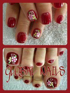 Cute Pedicure Designs, Red Nail Designs, Nail Designs Spring, Pretty Toe Nails, Pretty Toes, Cute Nails, Cute Pedicures, Toe Nail Art, Red Nails