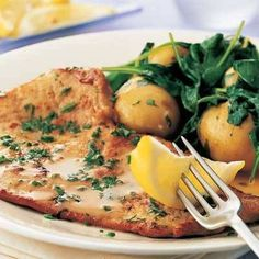 Veal scallopini with herbs Save Print Prep time 15 mins Cook time 25 mins Total time 40 mins In this light summery dish, ultra-thin, tender veal escalopes are quickly fried, and the pan is then deglazed with wine to make a sauce. New potatoes and spinach Veal Recipes, Dinner Recipes, Cooking Recipes, Healthy Recipes, Yummy Recipes, Yummy Food, Veal Scallopini, Veal Cutlet, Recipes