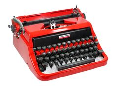 Cherry Red Underwood Typewriter in Original Case by BrooklynRetro on Etsy