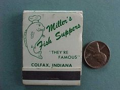 1960s Era Colfax Indiana Miller's Catfish Supper Restaurant matchbook-Legendary! | eBay