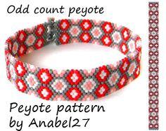 Peyote bracelet pattern #120, pdf beading pattern, seed bead pattern, simple peyote pattern, odd count peyote stitch delica bracelet pattern