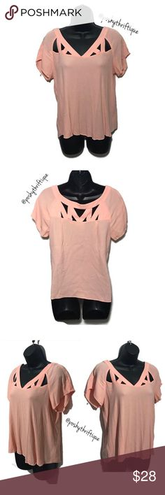 "Anthropologie Maeve womens Top Cutout Bateau 10 SIZE: 10 / medium  STYLE: blouse, flowy, Loose fit, bateau neckline , cutout Short Sleeve ,  BRAND: Maeve  MATERIAL: 100% rayon  COLOR: peach/ coral  MEASUREMENTS:  Length :Approx 23"" Underarm To Underarm : Approx 18"" Bust : Approx 36"" Sleeve : Approx 7"" CONDITION : Great Pre Loved Condition  COUNTRY OF MANUFACTURER : Vietnam  SMOKE FREE & PET FREE ENVIRONMENT Anthropologie Tops Blouses"