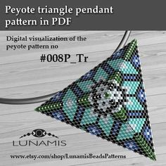Peyote triangle patterns, pattern for triangle pendant, peyote pattern, bead pattern, beading, peyote stitch, PDF format / pattern only. This is a DIGITAL product, no physical goods will be sent! (Materials are NOT included!) Miyuki Delica Beads size 11/0 5 bead colors. Side
