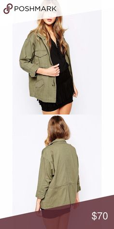 MANGO Utility Jacket Army green utility jacket. Has 4 pockets and drawstring waist. Great condition. Could for size 2 to 6 Mango Jackets & Coats Utility Jackets