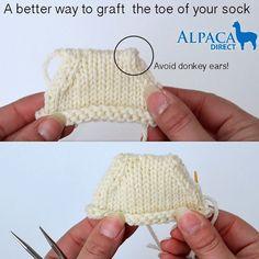 Avoid donkey ears when grafting your #knitting!  http://blog.alpacadirect.com/2014/02/better-way-graft-sock/