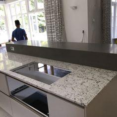 Bianco Foresta and Concreto Seta Combination- Ascot, Berkshire - Rock and Co Granite Ltd Window Sill, Granite, Bar, Breakfast, Kitchen, Design, Home Decor, Morning Coffee, Cooking