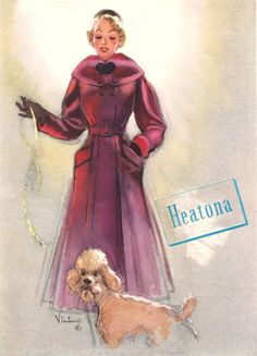 Such a charmingly lovely vintage 1950s fashion illustration featuring a gorgeous winter coat.