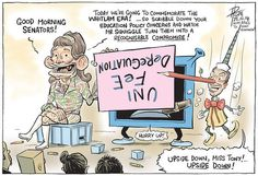 ABBOTT AND PYNOCCHIO EDUCATION POLICY Cartoon by David Pope.