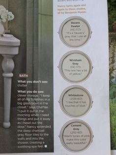 Revere Pewter 'It's a taupey gary that I use all of the time', Wickham Gray 'This one has a bit of yellow', Whitestone 'I like that it has touches of blue', Cement Gray 'Warm tones of pink make this color really beautiful