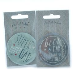Very handy badge style bottle opener that would make the perfect gift for the festival loving Man!  Choose from 'Super Duper Dad' or 'Beer makes everything possible' The bottle openers are approx 6cm in diameter.