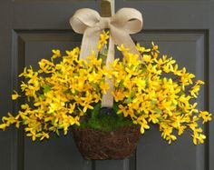 spring wreath Easter wreaths yellow forsythia wreath front door wreath…