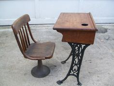 Paint Gloss White  ------------------------  Antique Child's Desk and Chair Very Small Cast Iron Legs  $ 195