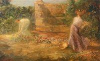 Twee dames tussen de bloemen, Guillaume Eberhard