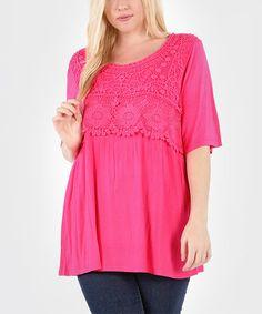 Look at this #zulilyfind! Raspberry Crochet Empire-Waist Tunic - Plus #zulilyfinds