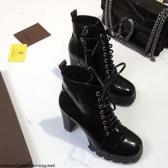 Louis Vuitton Star Trail Ankle Boot 1A26I6 A/W 2016 Cheap Sandals, Sexy Sandals, Suede Leather Shoes, Leather Sandals, Mules Shoes, Shoes Sandals, Lv Slippers, Black Thigh Boots, Lux Fashion
