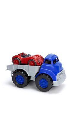 green toys flatbed with red race car | well