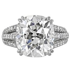 7.28 Carat Cushion Cut Diamond Platinum Ring | From a unique collection of vintage engagement rings at https://www.1stdibs.com/jewelry/rings/engagement-rings/