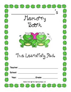 Included in this file: All about Me My Teacher The Best Field Trip My Favorite Unit of study My best friend How I changed this year My Summer Plans Autographs Frog Theme Classroom, 4th Grade Classroom, Future Classroom, Classroom Ideas, Frogs Preschool, Preschool Door, Teacher Hacks, My Teacher, Memory Books