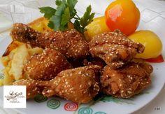 Egy finom Szezámmagos csirkecomb tepsiben sütve ebédre vagy vacsorára? Szezámmagos csirkecomb tepsiben sütve Receptek a Mindmegette.hu Recept gyűjteményében! Tandoori Chicken, Bacon, Turkey, Lunch, Beef, Dishes, Ethnic Recipes, Foods, Meat