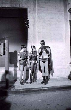 Batman, Robin and Batgirl. Adam West, Bert Ward and Yvonne Craig.