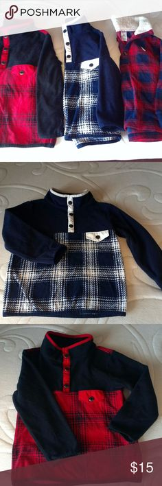 CARTER'S BOYS FLEECE PULL OVER SWEATERS THREE CARTER'S  BOYS PULL OVER SWEATERS USE BUT IN VERY GOOD CONDITION  [[RED -BLUE PRINTS]]- [[RED-BLACK]]- BLUE-WHITE]] Carter's Shirts & Tops Sweaters