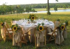 Burlap table setting with sunflowers, wonderful idea for a Country Wedding. future wedding,maybe one day.,Someday my prince will come. Wedding Table, Fall Wedding, Wedding Reception, Rustic Wedding, Our Wedding, Dream Wedding, Wedding Ideas, Wedding Rehearsal, Wedding Hair