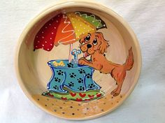 Golden Retriever 8 Dog Bowl for Food or Water Personalized at no Charge Signed by Artist Debby Carman * Learn more by visiting the image link.