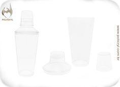 Coqueteleira em acrílico cristal.  Cocktail shaker in crystal acrylic.