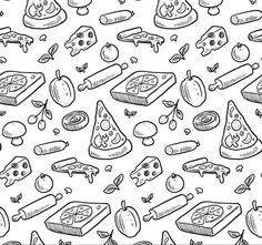 Hand drawn pizza seamless background - vector graphics