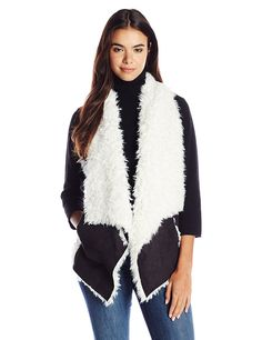 Sanctuary Clothing Women's Voila Faux Angora Vest, Black/Natural, Large at Amazon Women's Clothing store: