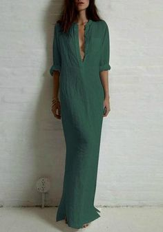 Dark Green Plain Long Sleeve Loose Casual Maxi Dress - Women's style: Patterns of sustainability Cheap Maxi Dresses, Plus Size Maxi Dresses, Dresses Dresses, Long Sleeve Maxi, Maxi Dress With Sleeves, Mode Hippie, Summer Dresses For Women, Look Fashion, Fashion Spring