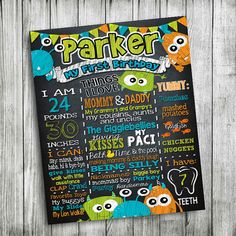 monster chalkboard signMonster First Birthday by JcoInvitations