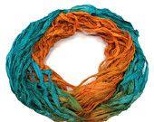 SALE New! Recycled Sari Silk Ribbon, Turquoise/Tangerine