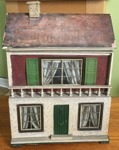 RARE ANTIQUE LINES BROS DH/C COTTAGE DOLLS HOUSE ORIGINAL PAPER FIREPLACE STOVE