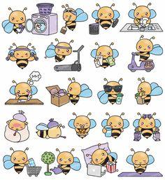Premium Vector Clipart - Kawaii Bee - Cute Bees Planning Clipart - Cute Bee Getting Stuff Done - Ins Cute Clipart, Vector Clipart, Colorful Drawings, Cute Drawings, Bee Drawing, Bee Illustration, Cute Bee, Cute Doodles, Kawaii Art