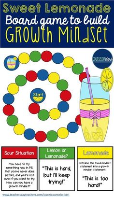 Sweet Lemonade: a fun board game to practice identifying growth vs. fixed mindsets, reframe fixed mindsets, reflect on personal experiences, and problem solve to create growth mindset, or make lemonade out of lemons! Growth Mindset Activities, Social Skills Activities, Elementary School Counselor, School Counseling, Group Counseling, Fixed Mindset, How To Treat Anxiety, Guidance Lessons, Study Skills