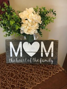 Mom Wood Sign, Mother's Day Gift, Gift for Her, Small Wood Sign with Mom, Mom Gift, Mom Day, Mom Sign with Saying, Reclaimed Wood Sign #ad