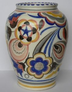 Art Deco Poole Pottery Vase Decorated by Ruth Pavely c1930s