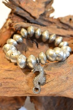 The Woods Metal Bead Bracelet with Seahorse- SOLD