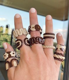 Fimo Ring, Polymer Clay Ring, Polymer Clay Crafts, Funky Jewelry, Cute Jewelry, Handmade Jewelry, Handmade Rings, Jewelry Accessories, Diy Clay Rings