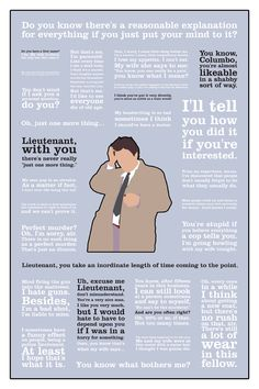 Columbo ~ TV Series Quotes Poster by Kate MacGuffin Radios, Columbo Peter Falk, Jesse Stone, Tv Detectives, Old Shows, How To Be Likeable, Tv Quotes, Me Tv, Classic Tv