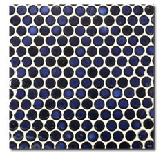 Cobalt Blue Penny Round Porcelain Mosaic Tile