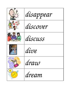 This file contains 156 illustrated verbs in a word wall format. The verbs range from basic ones, such as run, walk and see, for ESL leaners, to verbs such as discuss, slither and release to encourage vocabulary development in K-2 students.