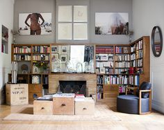 thebowerbirds:  Source: The Socialite Family Not everyones taste but I love the home library and bell jars.
