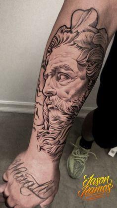 Sketch Tattoo Design, Tattoo Sketches, Tattoo Designs, Zeus Tattoo, Poseidon Tattoo, Dope Tattoos, Body Art Tattoos, Tattos, Hannya Samurai