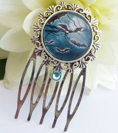 Small hair comb in silver with bats, halloween hair comb, night, blue hair comb, girls hair comb - pinned by pin4etsy.com