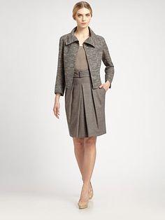 Akris - Melange Wool Pleated Skirt - Saks.com